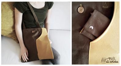 borsa quadrata semplice, con astuccio estraibile e tasca esterna 4/15