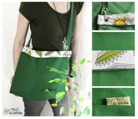 la borsa primavera, vivace e leggera, con tracolla attaccata tramite due moschettoni