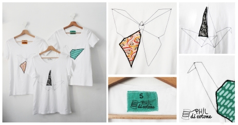 magliette con ricamo origami, pezzi unici nella forma e nel colore
