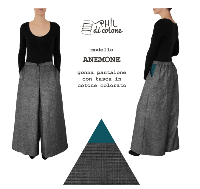 Gonna pantalone in leggero frescolana a trama grigia, con tasche a contrasto in cotone petrolio