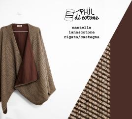 Mantella 100% lana rigata e cotone marrone castagna