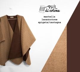 Mantella 100% lana spigata chiara e cotone marrone castagna