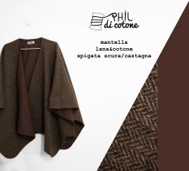 Mantella 100% lana spigata scura e cotone marrone castagna